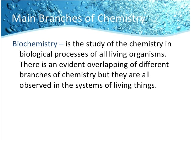 Branches in chemistry