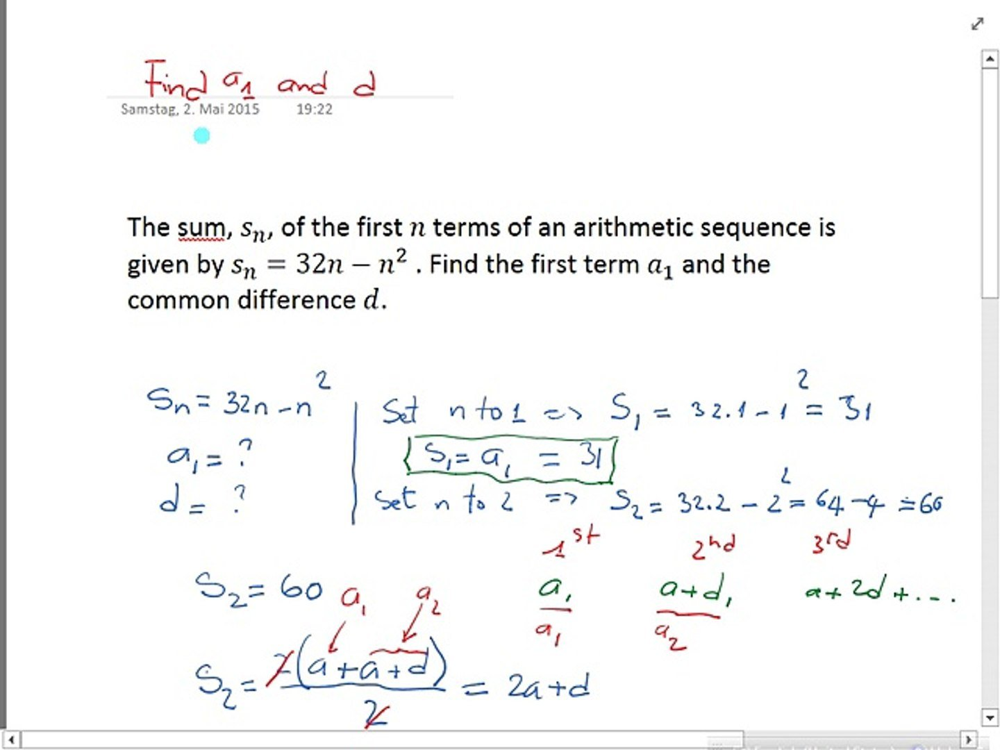 How To Find Arithmetic Sequence Common Difference