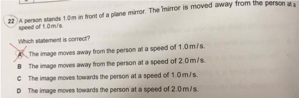 IGCSE PHYSICS A person stands 1.0m in front of a plane ...